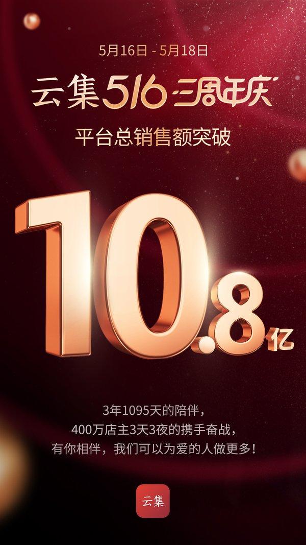 截至18日当晚24:00,持续了3天的大促累计销售额达到10.8亿元