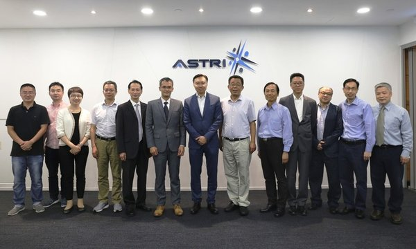 L-R:Jane Lee(3)-Secretary-General(Testing and Certification)of ITC,Prof Lu Shengli(4)-Deputy Director of CNERC for ASIC Systems,Dr Davy Lo(5)-Board Director of ASTRI, Hugh Chow(6)-CEO of ASTRI,Sunny Lee (7)-Chairman of the Mgt Committee and Board Director of ASTRI,Prof Shi Longxing(8)-Director of CNERC for ASIC Systems,Dr Archie Yeh(9)-Board Director of ASTRI,Dr MK Ieong(10)-CTO of ASTRI,YK Li(11)-Sr Director,ADS of ASTRI,Bill Zhang(12)-Sr Director,MSS of ASTRI,and Dr Daniel Shi (13)-Sr Director,EC of ASTRI