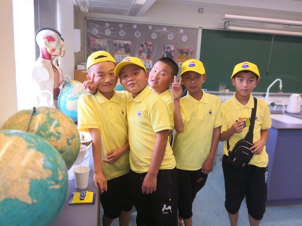 Boys Taking a picture after an English class in a Hong Kong primary school