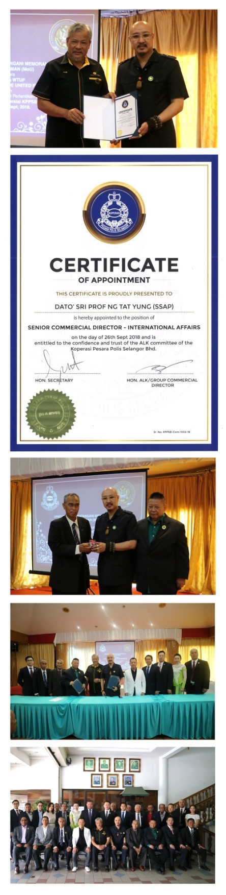 Police Retirees Cooperative Selangor, KPPSB of Malaysia appoints founder of Heaven Springs Dynasty Harvest Group Dato' Sri Baima Aose as Senior Commercial Director