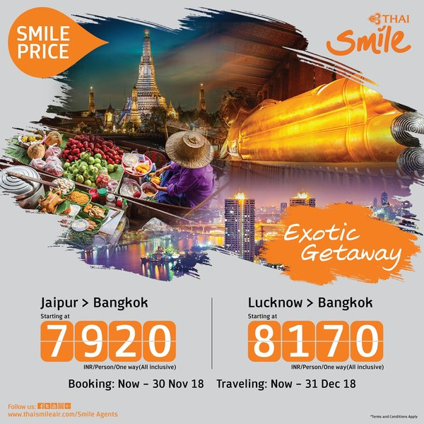 THAI Smile offers special price for travelers from India to experience the Land of Smiles