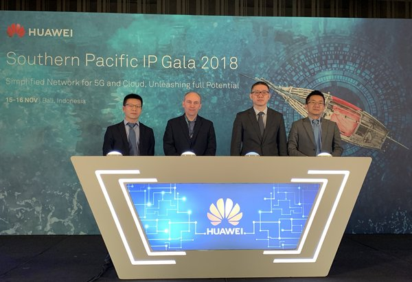 Huawei and Ovum introduce the experience-oriented network standards and solutions during SP IP GALA 2018. (from left to right) Qin Bin, Vice President, Network Marketing & Solution Sales, Carrier Network Business Group, Huawei , Ian Redpath, Practice Leader, Components, Transport & Routing, Ovum, Wang Yifan, President, Southern Pacific Carrier Network Business Group, Huawei, Gao Ji, President, Router & Carrier Ethernet Product Line, Huawei.