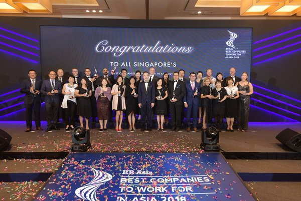 The Singapore Edition of the HR Asia Best Companies to Work for in Asia(TM) 2018 at Marina Bay Sands Singapore. 28 companies this year out of the 193 participating companies.