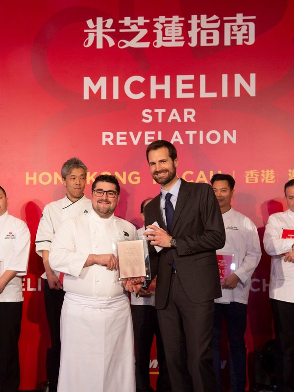 Mr. Pierre Marty, Chef de Cuisine at Alain Ducasse, City of Dreams receives two Michelin stars for Alain Ducasse at Morpheus in the awards ceremony announcing the results of the Michelin Guide Hong Kong Macau 2019.