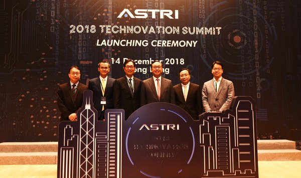 Officiating guests at the inauguration session of ASTRI Technovation Summit 2018 (From left: Mr Jason Pun, Assistant Government Chief Information Officer; Mr Hugh Chow, Chief Executive Officer of ASTRI; Mr Wong Ming-yam, Board Chairman of ASTRI; Mr Nicholas W Yang, Secretary for Innovation and Technology; Mr Ivan Lee, Acting Commissioner for Innovation and Technology; and Mr Charles Mok, Legislative Council Member)