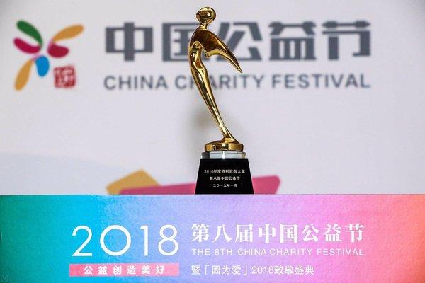 """德力西电气公司荣获第八届中国公益节""""2018年度特别致敬大奖"""""""