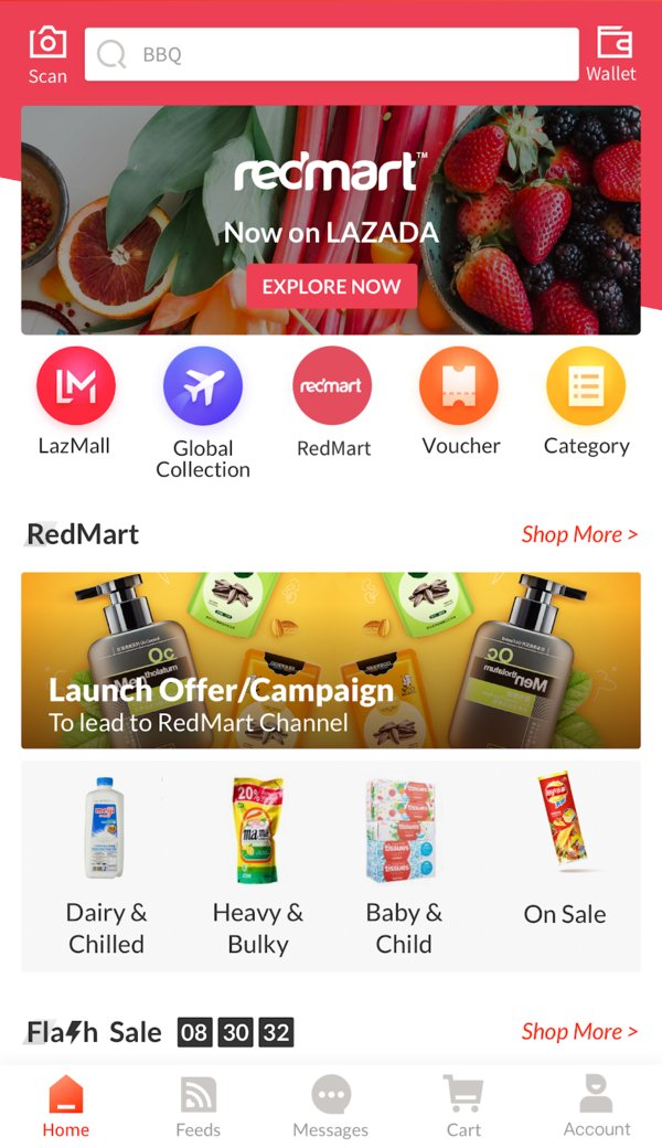 Screenshot of the new RedMart on Lazada app