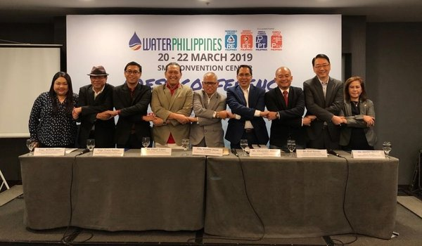 From left: Ms Vicky Tan of UBM; Engr William Juan, President of Philippine Integrated Society of Master Plumbing; Engr Franz Ramos of Philippine Society of Sanitary Engineers; Mr Edgar Lopez of PWWA; Atty Vicente Joyas, President of Philippine Water Works Association; Mr Alexander Ablaza, President of Philippine Energy Efficiency Alliance; Mr Erel Narida, President of Renewable Energy Association of the Philippines; Mr Dexter Deyto, GM of UBM and Ms Neneth Javier of PWWA.