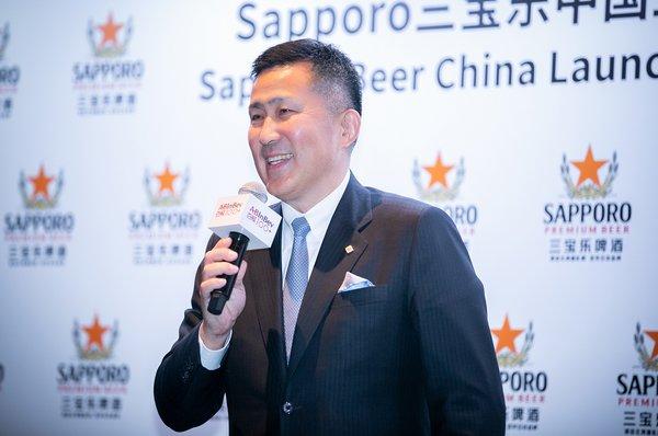 三宝乐啤酒总裁高岛英也先生在演讲中表示与百威中国合作信心十足