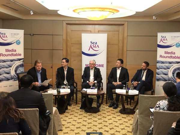 Panelists at the Sea Asia 2019 media roundtable discussing about start-ups in the maritime industry