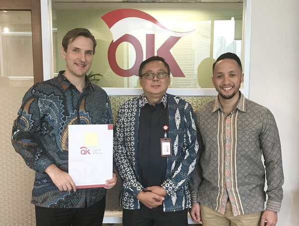 Arne Hartmann (Founder and CEO amalan), Mr. Triyono Gani (Executive Director of IKD at OJK), Yodhi Kharismanto (Director of amalan) at the official launch ceremony for the new fintech segments at Innovation Centre for Digital Financial Technology (OJK Infinity).