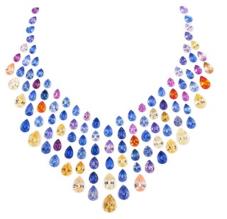 Multicolour sapphire necklace layout from Paul Wild OHG. The sapphires have a total carat weight of 154.25