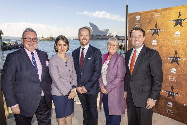 Hamilton Minister Don Harwin, NSW Premier Gladys Berejiklian, Producer Michael Cassel, Destination NSW CEO Sandra Chipchase and Minister Sturt Ayres