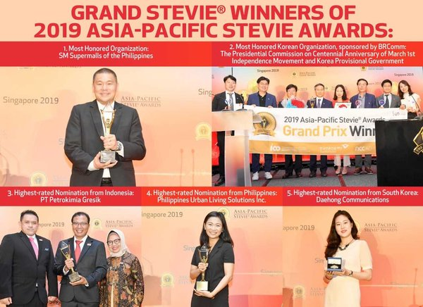 Grand Stevie Winners In 2019 Asia-Pacific Stevie Awards Announced