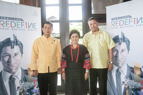 "Mr. Chiruit Isarangun Na Ayuthaya, TCEB President (right) joined Mrs. La-iad Bungsrithong, President of the Thai Hotels Association (Northern Chapter) and Mr. Komson Suwanampa, Vice Governor of Chiang Mai at a press briefing on 28 June 2019 as part of the two-day ""TCEB showcases 'MICE Events in the Rain' in Chiang Mai"" media fam trip last week."