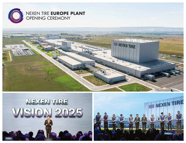 Top: Nexen Tire Europe Plant / Bottom Left: Travis Kang, the Global CEO of Nexen Tire is celebrating the opening of the Europe Plant with a welcome and vision speech / Bottom Right: Byung Joong Kang, the Chairman of Nexen Tire, Travis Kang, the Global CEO of Nexen Tire, Eung Young Lee, President of Nexen Tire Europe and Se In Oh, Vice President of Nexen Tire Europe are joined by the technical staff and Europe Plant employees at the ribbon cutting ceremony.