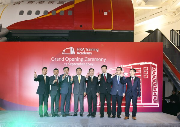 Hong Kong Airlines senior management toasting at the opening ceremony