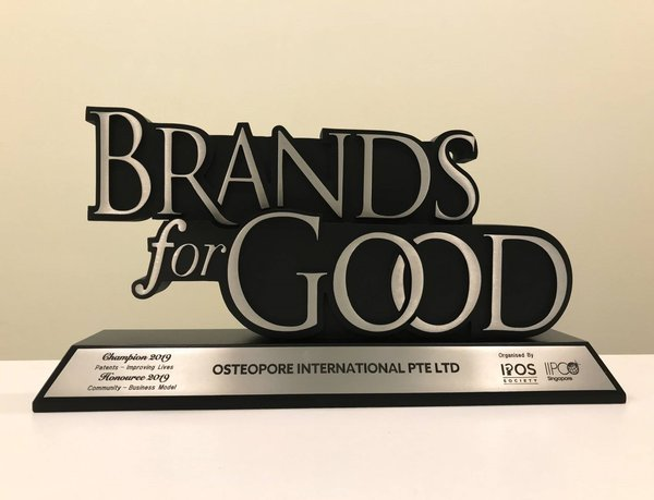Osteopore wins top prize at Brands For Good 2019 for its contribution to patients