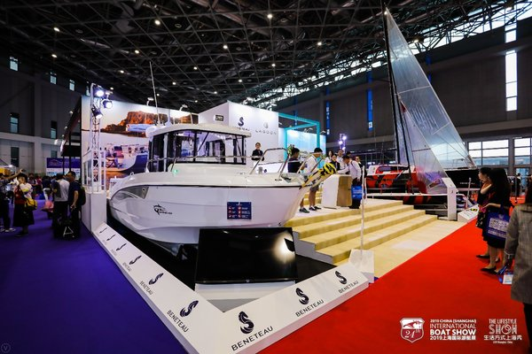 Real boat exhibited by Beneteau, a famous French boat manufacture, on CIBS2019