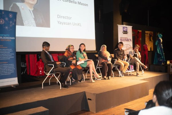 Panelist for the segment Growing Local Industry Through Sustainable Fashion. From Left Ambika Sangaran, Managing Partner from Biji-biji, Dr Cordelia Mason, President from Yayasan UniKL Masrina Abdullah,Founder from Masrina Abdullah Empire Ventures Studio, Kristina Teow, President from Lean In Youth, Cris D Tran, Regional Head from Infinity Blockchain Ventures and Alejandro Kikuchi, Head International Growth, Wokana.