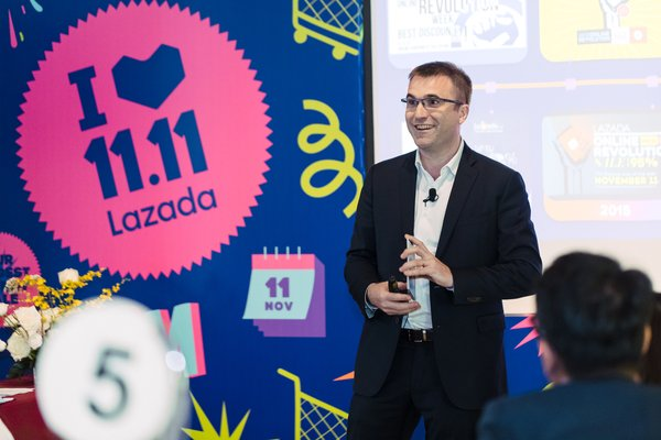 Pierre Poignant, Chief Executive Officer, Lazada Group during his presentation