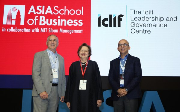 (L-R) Prof Charles Fine, President and Dean of ASB, Tan Sri Dr. Zeti Aziz, Co-Chair of the ASB Board of Governors and the Chairman of Iclif's Board of Directors and Rajeev Peshawaria, CEO and Executive Director of Iclif on stage during the merger announcement.