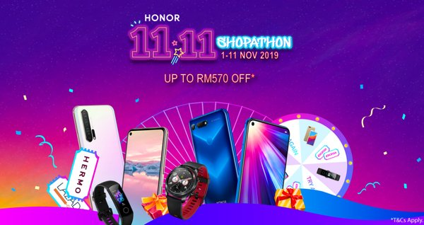 HONOR Gives up to RM 570* Off this 11.11 with Shopathon Deals