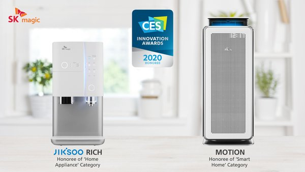 SK magic receives U.S. CES Innovation Awards for 'All-in-one JIKSOO RICH Ice Water Purifier', and 'MOTION Air Purifier'.