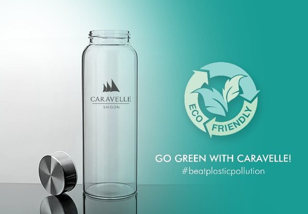 Note: refillable glass bottle, 500ml with hotel logo
