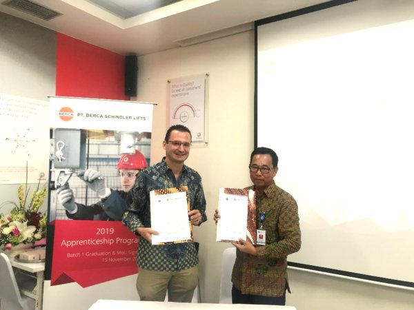 Thibaut Le Chatelier, President Director of PT Berca Schindler Lift and Herman, Head of BBPLK Bekasi