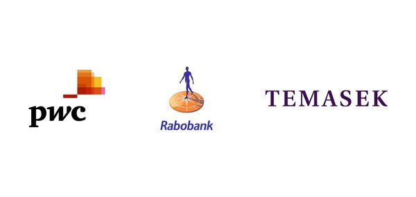 Logos of PwC, Rabobank and Temasek