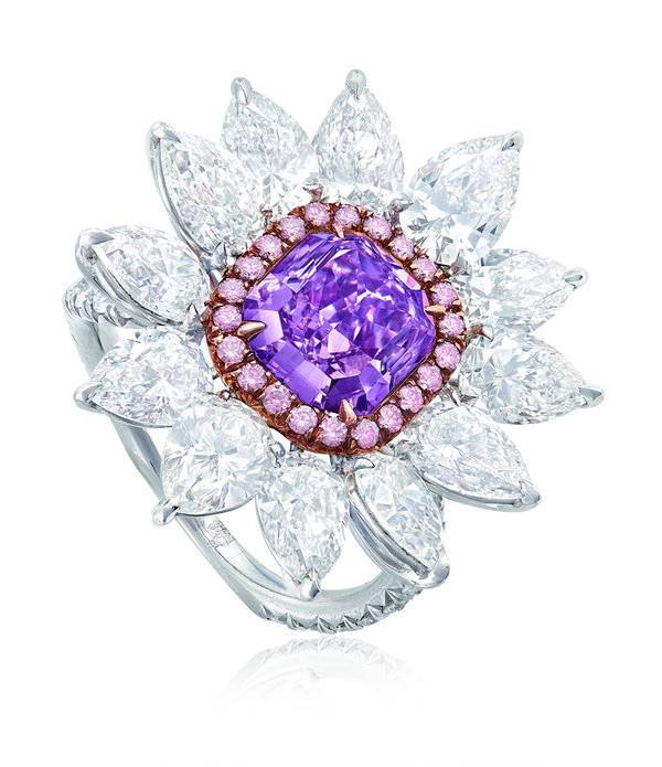 A 1.35-carat fancy purple coloured diamond ring unveiled at the tradeshow.