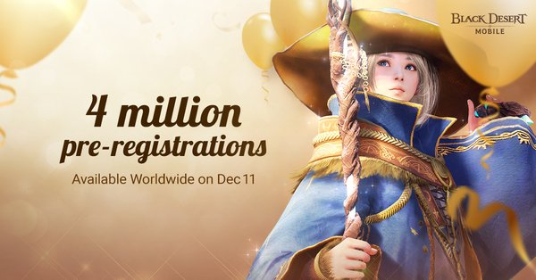 Black Desert Mobile Hits 4 Million Pre-Registrations Ahead of Grand Launch on December 11