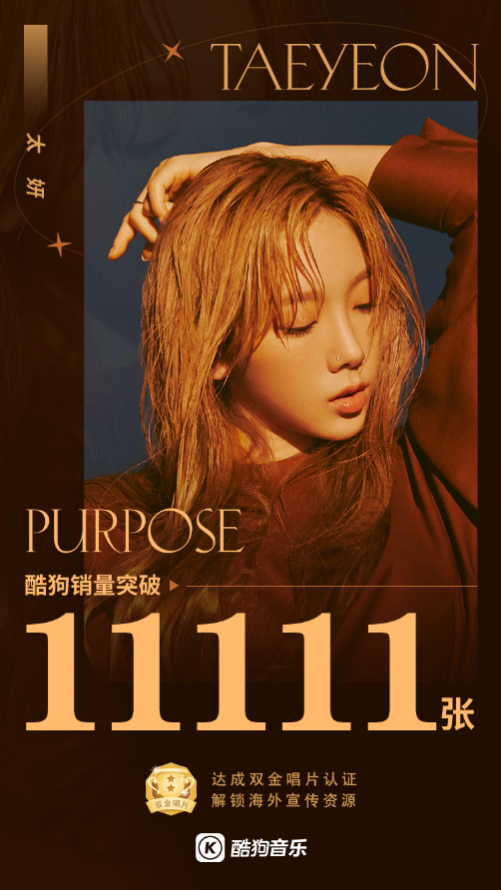 "Sales of Taeyeon's 2nd album ""Purpose"" soar instantly upon release on KuGou Music"