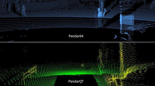 图为:Pandar64和PandarQT对近距障碍物识别时的对比