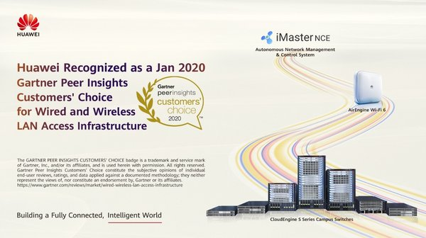 Huawei Recognized as a January 2020 Gartner Peer Insights Customers' Choice for Wired and Wireless LAN Access Infrastructure