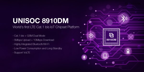 UNISOC Announces Overseas Debut of UNISOC 8910DM, World's First Cat.1bis IoT Wide Area Chip Platform