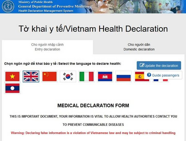Visitors can fill the medical declaration form online using Viettel built system