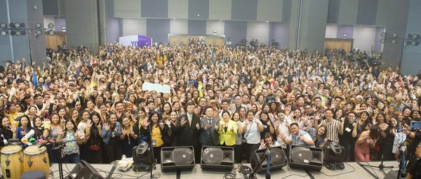 51Talk's annual teachers' day celebration draws in thousands of their home-based English teachers. At the center are 51Talk Co-Founder and COO Liming Zhang, Founder and CEO Jack Huang, and Country Head Jennifer Que.