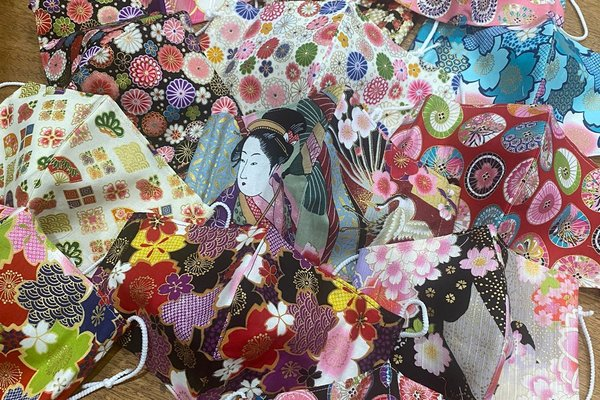 Original face masks adorned with Japanese traditional prints