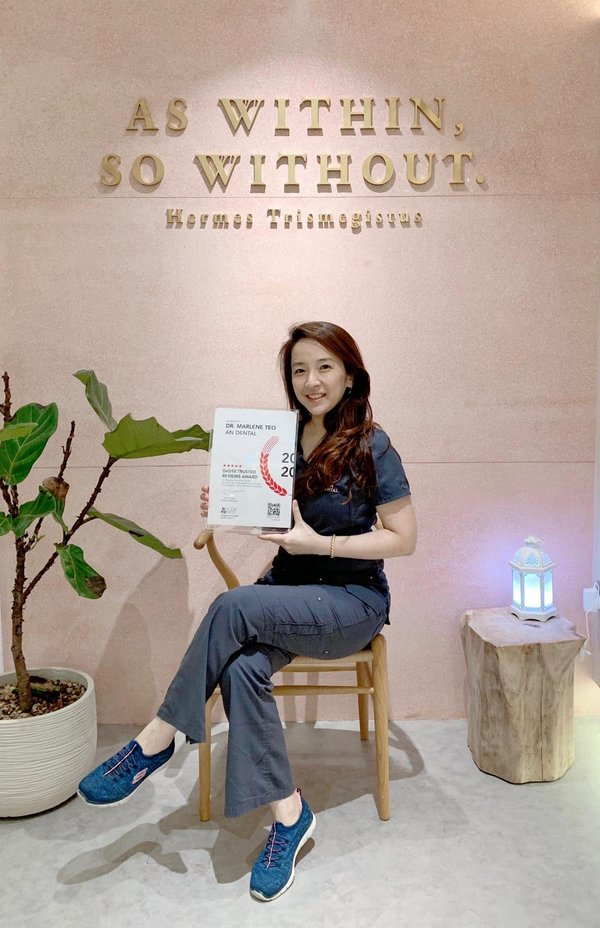 Dr Marlene Teo from An Dental Clinic, recipient of DxD10 Trusted Reviews Award for 2020.