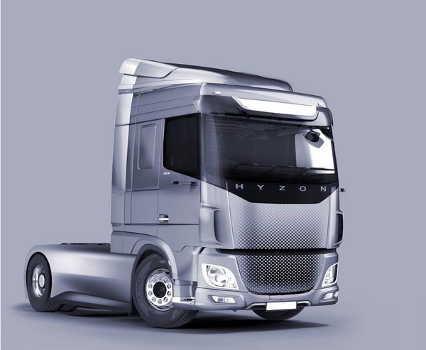 Rendering of the HYZON Motors Class 8 hydrogen fuel-cell truck