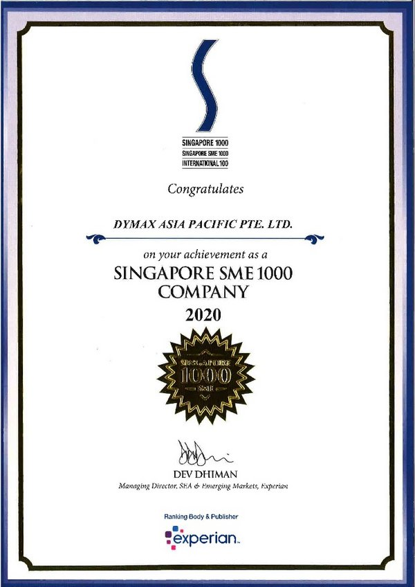 Dymax Asia Pacific Pte Ltd Receives the Singapore SME 1000 & SME 1000 Award and Winner of D&B Business Eminence Award