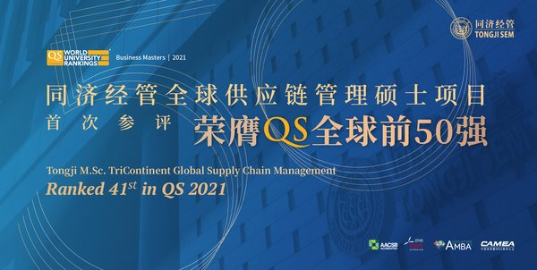 同済大学のM.Sc. TriContinent Global Supply Chain Management がQS 2021で41位にランキング